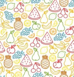 Fruits doodle pattern vector image vector image