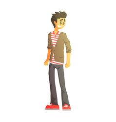 guy in polo t-shirt cardingan and trainers young vector image vector image