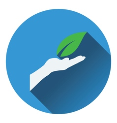 Hand holding leaf icon vector image