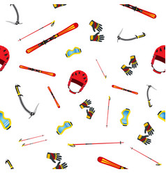 seamless pattern of equipment for skiing vector image
