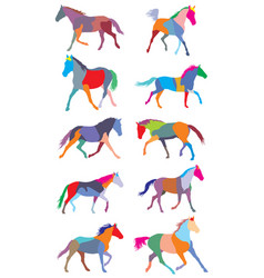 set of colorful trotting horses silouettes vector image vector image