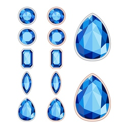 set of five forms of sapphire cut and two kinds of vector image