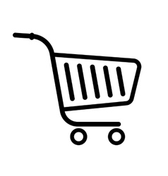 shopping trolley cart black line flat icon vector image vector image