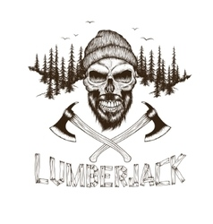 Skull-lumberjack with two axes vector image vector image