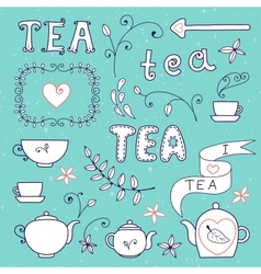 Tea card Set of elements for design vector image vector image