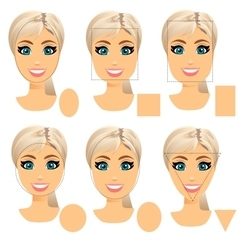 Woman face shape types vector
