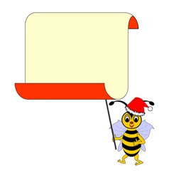 A funny Christmas cartoon bee with a blank paper vector image