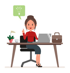 businesswoman or secretary works at the computer vector image vector image