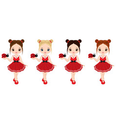 cute little girls with ladybugs vector image vector image