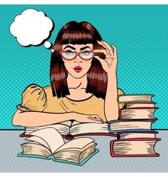 Female Student Reading Books in Library Pop Art vector image vector image