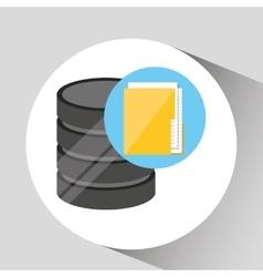 Hand holds data file folder icon vector