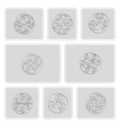 icons with irish geometric ornament vector image