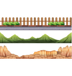 seamless background with moutains and fence vector image vector image