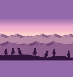 Silhouette of penguin lined on hill landscape vector