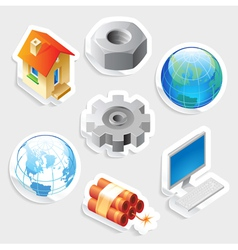 Sticker icon set for industry and technology vector image vector image