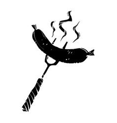 bbq sausage fork vector image vector image