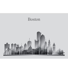 Boston city skyline silhouette in grayscale vector image vector image