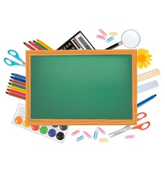 desing back to school with green desk vector image vector image