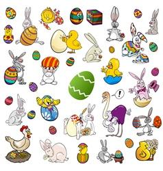 easter themes cartoon set vector image
