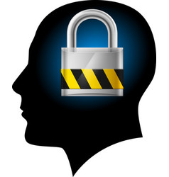 man with padlock in head on white background for vector image vector image