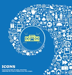 Radio cassette player sign icon Nice set of vector image