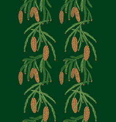 seamless pattern pine tree cones vector image