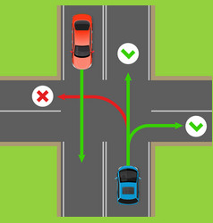 turn rules on four-way intersection diagram vector image