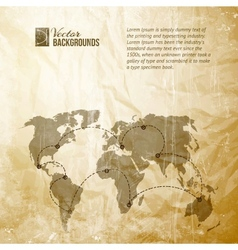 World map in vintage pattern vector image