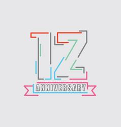 12th years anniversary logo birthday celebration vector