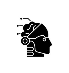 artificial intelligence and robotics black icon vector image