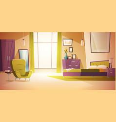 Bedroom interior cartoon double bed wardrobe vector