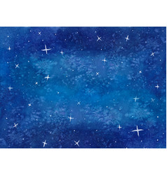 Blue galaxy night sky watercolor vector
