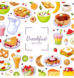 breakfast recipes banner template with tasty vector image