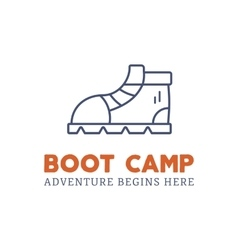 Camping adventure logo design with boot and vector image