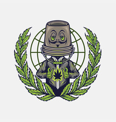 cannabis mascot logo weed design vector image