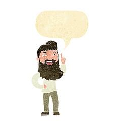 Cartoon happy bearded man with idea with speech vector