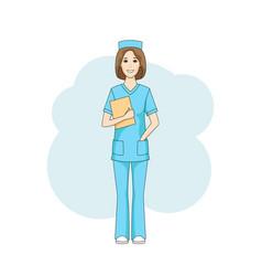 Caucasian female nurse in blue uniform vector