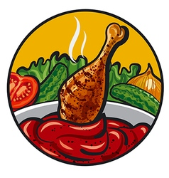 chicken with sauce vector image