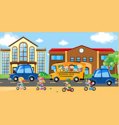 children riding on bike and bus vector image vector image