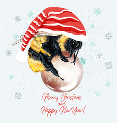 christmas bumble bee holding bauble vector image