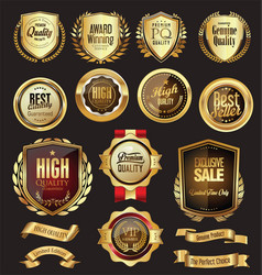 Collection golden badges labels and tags 06326 vector