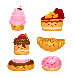 collection sweet pastries vector image