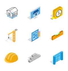 Construction icons isometric 3d style vector