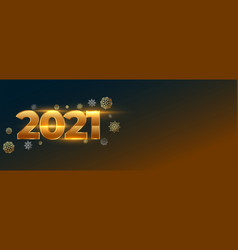 Creative glowing new year 2021 with snowflake vector