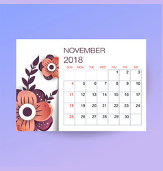 design floral template calendar 2018 vector image