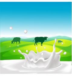 Design with cow milk splash and landscape vector