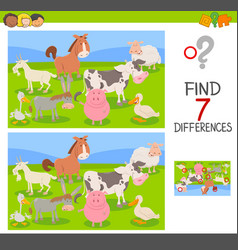 Difference game with farm animals group vector