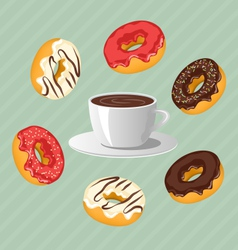 donuts with cup coffee on blue vector image