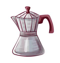 drawing pot for coffee mug with lid java vector image