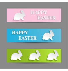 Easter Banners Set with Rabbit Bunny vector image